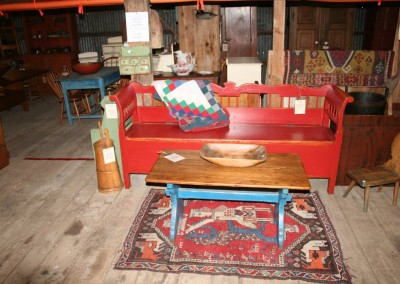 red storage bench w background